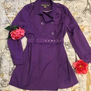 Kenneth Cole Reaction Purple Trench Jacket Coat XL